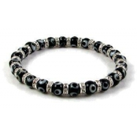 Evil Eye Bracelet and Cubic Zirconia, 6mm Black beads