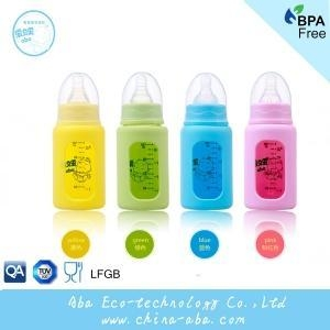 China Good quality heat resistant high-quality glass baby bottle silicone sleeve on sale