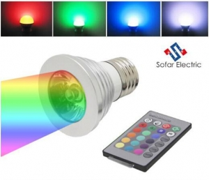 China 3W Remote Control LED Spot Bulbs 16 colors on sale