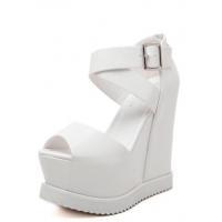Graceful solid elegant buckle peep toe wedge sandals MSX-BFE-889-1