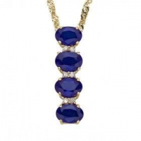 Gorgeous Womens 14K Solid Yellow Gold Diamonds and 2.5 CTW Sapphires 18 Inch Designer Necklace