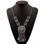 Vintage style silver coin tassels retro coin necklace coin pendant necklace