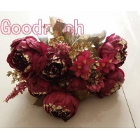 China GR-1604 glittered artificial flowers peony on sale