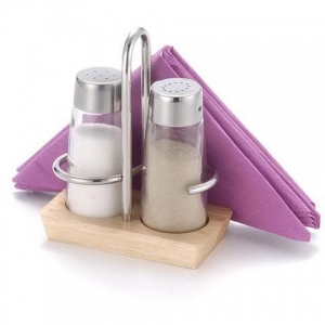 China Product 2 Pcs Wooden Salt & Pepper set w/napkin holder on sale