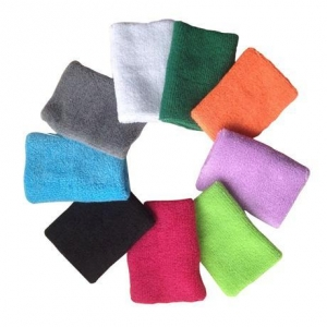 China custom colored unisex sports cotton wristbands sweatbands wrist support on sale