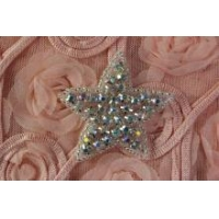China Star Small AB Crystal Beaded Trim Bridal Rhinestone Motif Applique Transfer on sale
