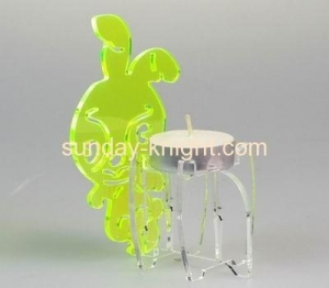 China Clear acrylic tealight holder with rabbit decoration HCK-020 on sale