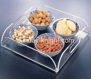 China Custom acrylic food display tray can holder 4 bowls HCK-010 on sale