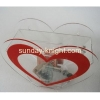 China 2016 new fashion design elegant double color heart shape acrylic donation box DBK-029 for sale