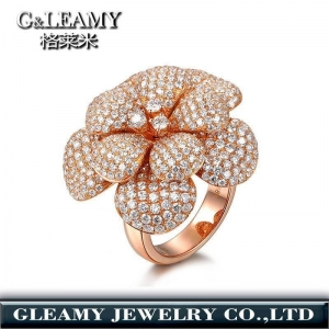 China rose gold plated 925 sterling silver ring,diamond flower ring on sale