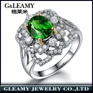 China 18K white gold plated 925 sterling silver gemstone luxury ring on sale