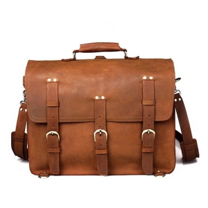 China High end top quality vegetable tanned leather camping weekend bag for men on sale