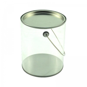 China Ice bucket/plastic packing box Food grade clear PET/PVC plastic bucket with handle on sale