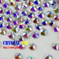 China Crystal AB hot fix stone, iron on flat back rhinestone, hot fix strass crystals for decoration on sale
