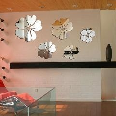 China & Garden 5pcs Flowers 3D Mirror Effect Acrylic Removable Wall Sticker Art Home Decor DIY Decal on sale