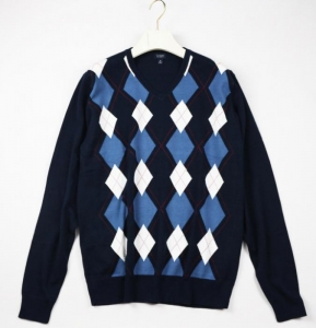 China Men v neck men intarsia argyle sweater on sale