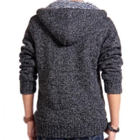 Men heavy winter zip hooded cardigans mens sweaters