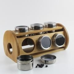 China Bamboo Wood Kitchen bamboo spice rack with 12 stainless container on sale