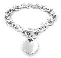 China Sterling Silver Med Oval Link Charm Bracelet on sale