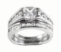 China Princess Cut CZ Engagement Ring Set RSZ-2100 Final Sale on sale