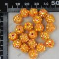 China Orange AB acrylic resin rhinestone spacer beads charm 20pcs 10mm on sale