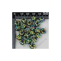 China 10mm Black AB Acrylic ball Resin Rhinestone Spacer Beads 20pcs on sale