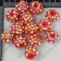 China 10*12mm 20pcs Acrylic Red Beads with GoldAB Crystal AB Resin Rhinestonse Spacer Beads on sale