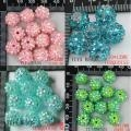 China 10*12mm Pink AB/Turquoise/Turquoise AB/Green AB Resin Rhinestone Acrylic Spacer Beads Charm 50X on sale