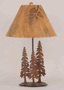 China Wildlife Themed Table Lamps Lodge Pole Pine Lamp and Shade on sale