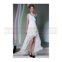 White V-neck Sleeveless Homecoming Dresses with Ruffle Fabric Acrossed Blue Sequins Fabric Hi-lo