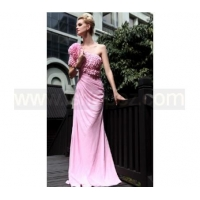 Sheath One Shoulder Scales Design Crystal Mother of the Bride Dress