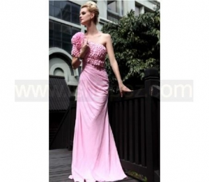 China Sheath One Shoulder Scales Design Crystal Mother of the Bride Dress on sale