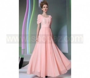 China New Fashion Pink Party Dress, Cap Sleeve Prom Dress on sale