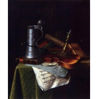william michael harnett still life with a violin pewter tankard and sheet music paintings for sale
