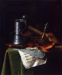 China william michael harnett still life with a violin pewter tankard and sheet music paintings for sale on sale
