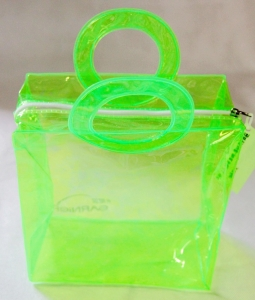 China PVC Plastic Handle Bag,Transparent Green Bag With Zipper on sale