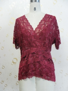 China women's clothing(106)  lady's lace top with sequins and beads on sale