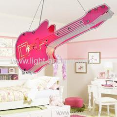 China Sweet guitar Glass Chandelier Guitar pendant lights Children room Chandelier on sale