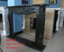 China Column fireplace black marble CNC gas fireplace in stock on sale
