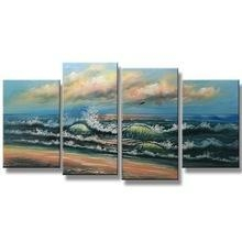 China Handmade Acrylic Textured Abstract Seascape Painting Reproduction From China For Bedroom on sale