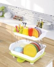 China 2 tiers kitchen dish rack with tray on sale