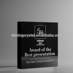 crystal trophy&award black colour crystal block in stock