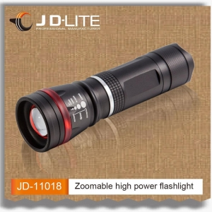 China High power led torch light zoom dimmer strong light flashlight with red ring for on sale