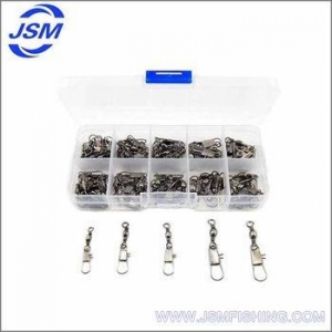 China JSM Wholesale stainless steel fishing swivel with interlock clip fishing tackles fishing swivel on sale