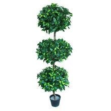 China Bamboo & ficus artificial ficus tree, 150cm ficus ball tree 3 balls, topiary tree on sale
