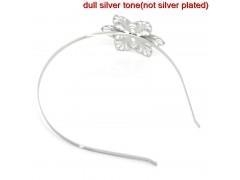 China Headbands Hair Band Flower Silver Tone Hollow 38.5cm long,14.5x12mm,5PCs,Customize on sale