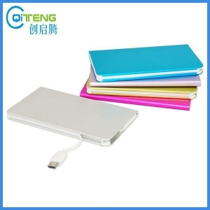 China Metal Aluminium Case Credit Card Size Power Bank with Charging Cable on sale