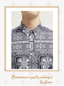 China Gents, Comfortably casual shirts Printed Cotton Denim Shirt for Men-Short sleeve on sale