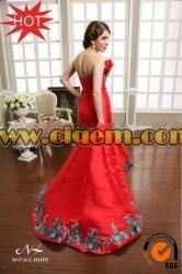 China Ethnic Clothing Newest Red Strapless Mermaid Long Bollywood evening dresses under 50 on sale