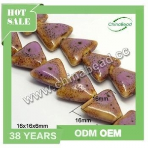 China Best quality peru ceramic beads, triangle beads violet porcelain beads for necklace making on sale